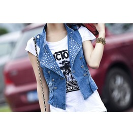 Fashion Vintage Denim Women Vest