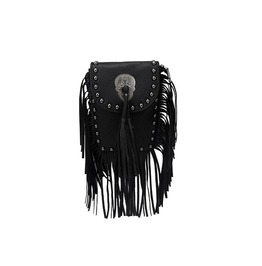 Imitation Leather Cross Skull Fringe String Messenger Bag