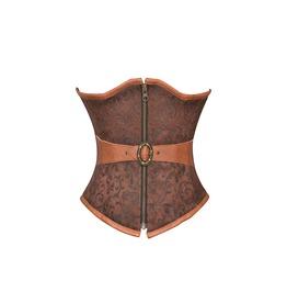 Brown Brocade Leather Belt Steampunk Halloween Costume Underbust Corset Top