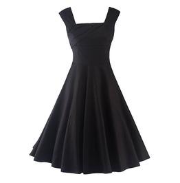 Vintage Sleeveless Zipper Skater Retro Women Dress
