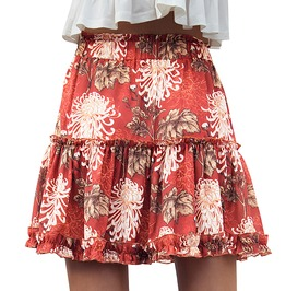 Boho Chic Fire Red Ruffled Short Skirt
