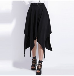 Goth Asymmetric Witch Black High Low Midi Womens Skirt