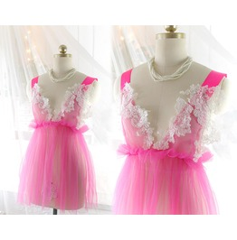 Romantic Fairy Tunic Hot Pink Tulle White Lace Applique ,Kitsch Wedding Lin