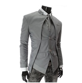 Gothic Steampunk Stand Collar Asymmetric Button Suit Blazer Coat
