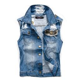 Punk Rock Ripped Washed Jeans Men Vest