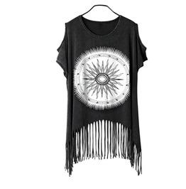 Goth Punk Print Design Fringes Sleeveless Womens Tank Crop Top