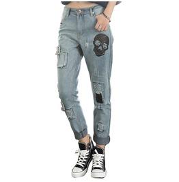 Spooky Punk Ripped Skull Boyfriend Denim Women Jeans
