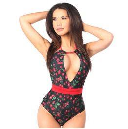 Pin Up Cherry One Piece Pucker Back Swimsuit W/Removable Belt