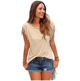 Punk Rock Boho O Neck Solid Color Tassel Short Sleeves Women Tees Shirt