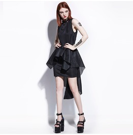 Goth High Low Asymmetrical Sleeveless Mini Womens Dress