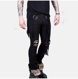 Distressed O Ring Strap Black Slim Jeans 290