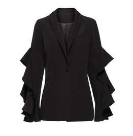 Goth Long Sleeve Ruffled Button Autumn Womens Jacket