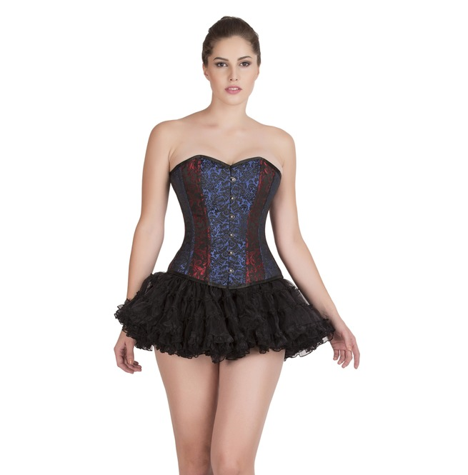 red blue black brocade gothic halloween costume skirt overbust corset