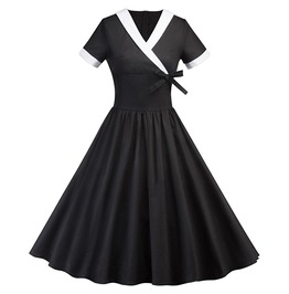 Short Sleeve Bowknot Goth Vintage Midi Skater Skirt Womens Dress