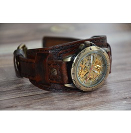 Steampunk Skeleton Watch Mechanical Wristwatches Automatic Leather Cuff