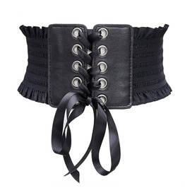 Lace Up Imitation Leather Bowknot Punk Goth Womens Waist Belt Accessories