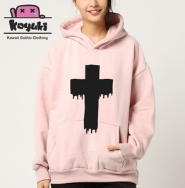 Pastel Hoodie Cross Gothic Blood Bleed