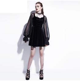 Gothic Black Mesh Lantern Long Sleeve Skater Dress Women's Dress