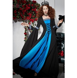 Medieval Style Lace Up Maxi Dress With Extra Long Bell Sleeves Womens Dress