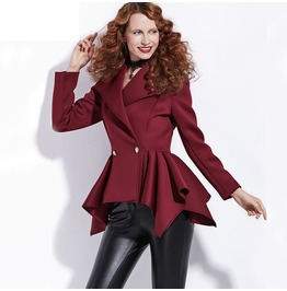 Elegant Long Sleeve Burgundy Pleated Jacket Women's Outerwear