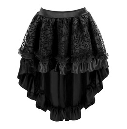 High Low Asymmetric Embroidered Lace Flower Mesh Punk Goth Womens Midi Skir