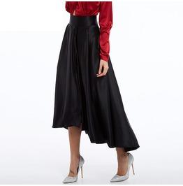 Asymmetrical High Waist Ankle Length Black Skater Skirt Women's Bottom