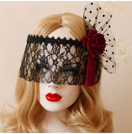 Retro Victorian Lace Up Embroided Rose Mesh Womens Party Mask