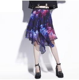 High Waist Asymmetric Chiffon Midi Skirt With Galaxy Print Women's Bottom