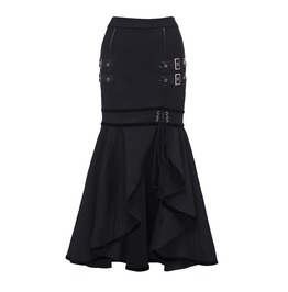Zip Up Maxi Trumpet Skirt With Lace Up And Strap Detail Women's Bottom