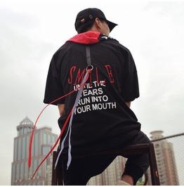 Streetwear Punk Zipper Hooded Men T Shirt