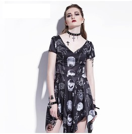 Gothic Asymmetrical Skulls Bones Summer Women A Line Dress