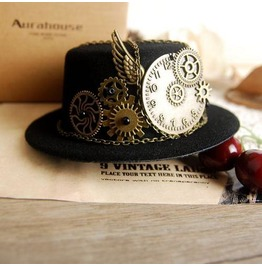 Steampunk Gears & Clock Chain Cosplay Mini Top Hat
