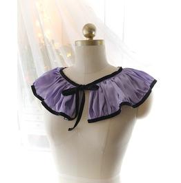Ruffles Collar Purple Lilac Satin Black Velvet , Victorian Rococo Goth Goth