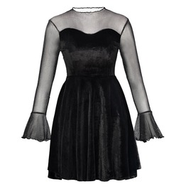 See Though Long Bell Sleeve Goth Punk Spring Mini Womens Dress