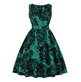 Summer Flower Print Sleeveless Green Skater Retro O Neck Midi Womens Dress