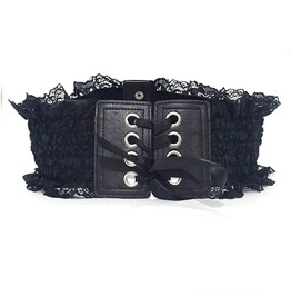 Sexy Retro Lace Up Goth Victorian Imitation Leather Womens Cummerbund Belt