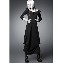 Designer Gothic Black Frillery Simple Long Dress
