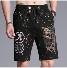 Summer Black Cross Skull Print Men Shorts Up To 4 Xl
