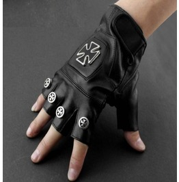 Men's Punk Rock Bikers Leather Gloves Cross
