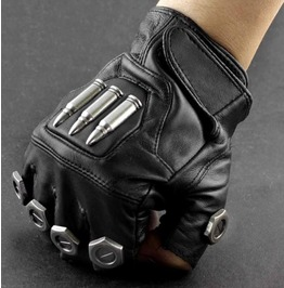 Men's Punk Rock Bikers Leather Gloves Bullets Screws