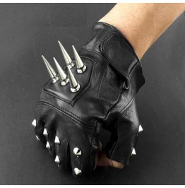Men's Punk Rock Bikers Leather Gloves Spikes Rivets