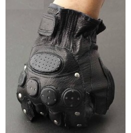 Men's Punk Rock Bikers Leather Gloves Rivets