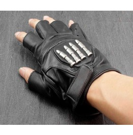 Men's Punk Rock Bikers Leather Gloves Bullets