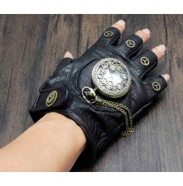 Men's Punk Rock Bikers Leather Gloves Gear Watch