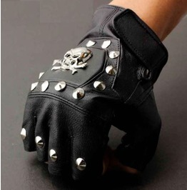Men's Punk Rock Bikers Leather Gloves Skull Rivets