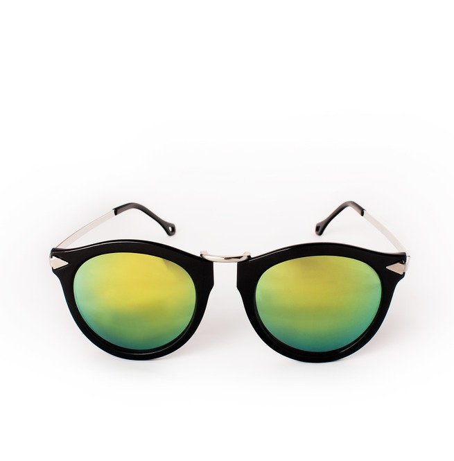 d8a35cff0f73f Sunglasses Mirror Lenses Flash Lens Retro Style Black Frame Blue Green Cute