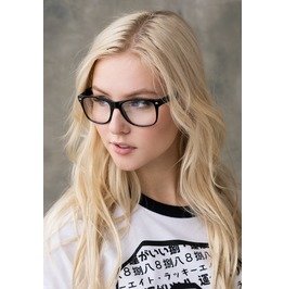 Clear Lens Glasses Geek Nerd Cosplay Chunky Black Frame Cute Kawaii Geeky