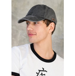 Denim Baseball Cap Washed Brushed Cotton Retro Japanese Visor Grey Men's