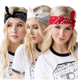 Bandana Set 3 Classic Paisley Black Red White Pattern Square Scarf Scarves