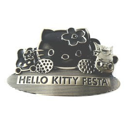 Cool Hello Kitty Bronze And Black Metal Belt Buckle Has Hello Kitty Festa